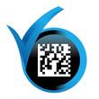 flashcode sur bouton validé bleu