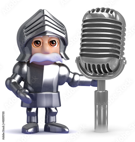 Knight use an old retro microphone