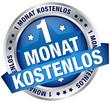 """Button Banner """"1 Monat kostenlos"""" blau/silber"""