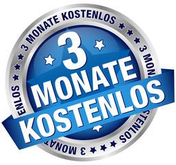 """Button Banner """"3 Monate kostenlos"""" blau/silber"""