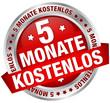 """Button Banner """"5 Monate kostenlos"""" rot/silber"""