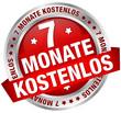 """Button Banner """"7 Monate kostenlos"""" rot/silber"""