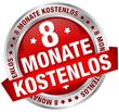 """Button Banner """"8 Monate kostenlos"""" rot/silber"""