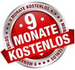 """Button Banner """"9 Monate kostenlos"""" rot/silber"""