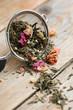 Tea leaves in tea strainer