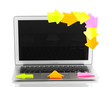 Laptop with empty stickers isolated on white