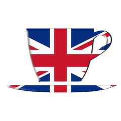 bandiera inglese su tazza di tè