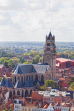 Top view of the Saint Salvator Cathedral in Bruges, Belgium poster