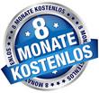 """Button Banner """"8 Monate kostenlos"""" blau/silber"""