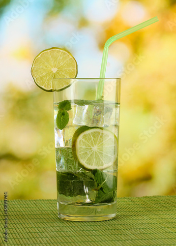 Glass of water with ice, mint and lime