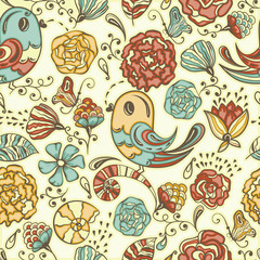 Vector Seamless Spring Pattern