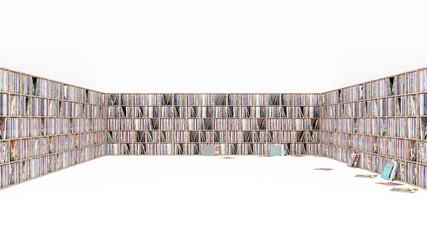 Vinyl Regal, Schallplatten Sammung isoliert