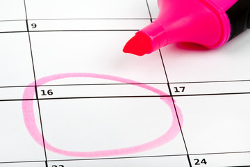 Date Highlighted on a Calendar
