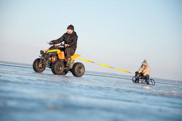 Happy family on ice