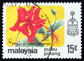 Postage stamp Malaysia 1986 Rose Mallow, Hibiscus