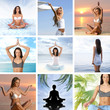 A collage of images with young women relaxing and meditating