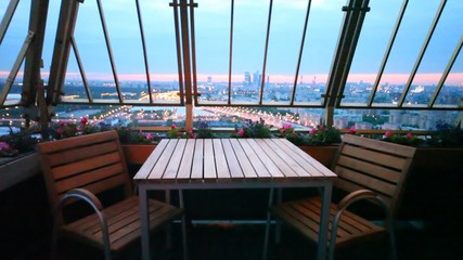 central region of Moscow is visible from terrace of restaurant
