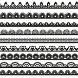 Large set of openwork lace borders black silhouette