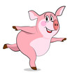 Pig  in yoga poses. Dancing pig