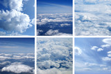 A collage of aerial images with blue sky and white clouds