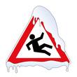 Schild Vorsicht Eisglätte Rutschgefahr
