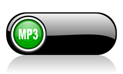 mp3 black and green web icon on white background