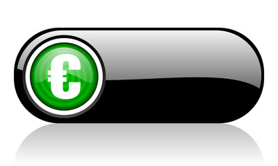 euro black and green web icon on white background