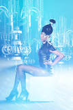 African women in dress siting with cold hologram chandelier poster