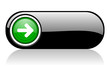 arrow left black and green web icon on white background