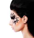 woman and face art with rhinestone poster