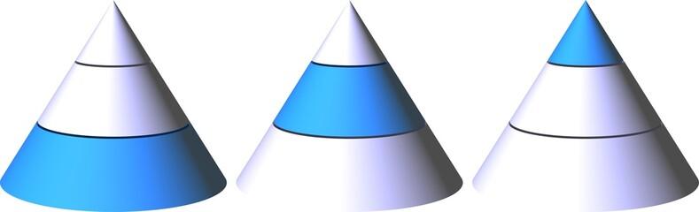 Pyramide-drei Schichten-zB. Angestellte, Abteilungsleiter, Chef
