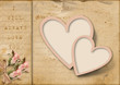 Vintage love card with two hearts and pink flowers