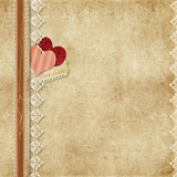 Gorgeous vintage background with lace and paper hearts