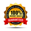 Vector money back guarantee gold sign, label