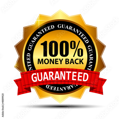 Vector money back guarantee gold sign, label - 48899521