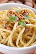 maccheroni al pesto di noci con pancetta