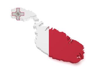 Malta Map 3d Shape