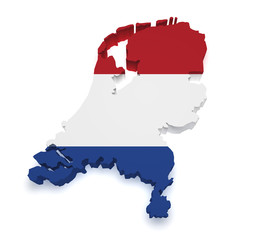 Netherlands Map 3d Shape