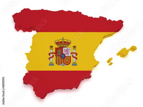Spain Map 3d Shape