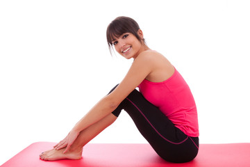 Beautiful caucasian fitness woman stretching
