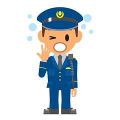 警察官 あくび