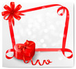 Holiday background with red heart-shaped gift box and ribbon. Ve