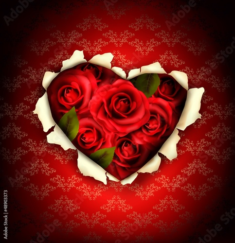 Valentine Heart Card Design. Red roses and ripped paper heart. V