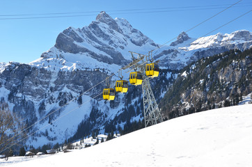 Gondolas of cable road. Switzerland