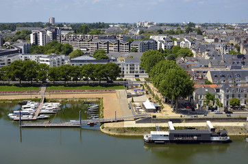 Port on the Maine river at Angers in France
