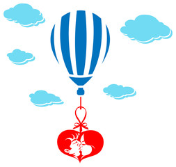 Valentine Couple Kissing in Air Balloon