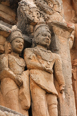 Statues on temple in Hampi, India