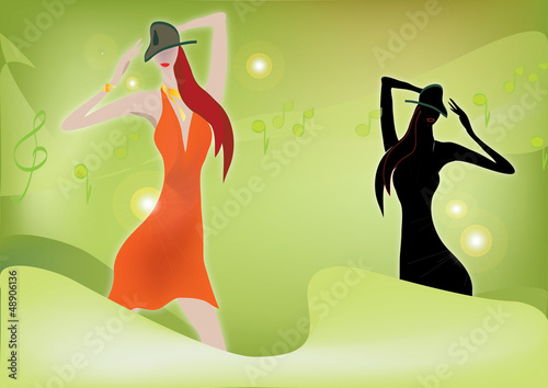 Fashion woman with music notes in the background