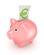 Piggy bank and symbol of euro.