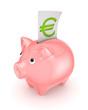 Piggy bank and symbol of euro.